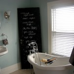 bathroom-awesome-clawfoot-tub-bathroom-ideas-with-chalkboard-paint-and-sign-using-former-black-door-sponge-caddy-soap-dish-on-bathtub-minimalist-sink-round-shape-mirror-and-big-win