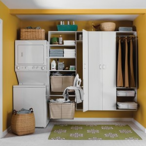 chic-yellow-laundry-room-with-room-white-cabinets-and-yellow-wall-paint-color