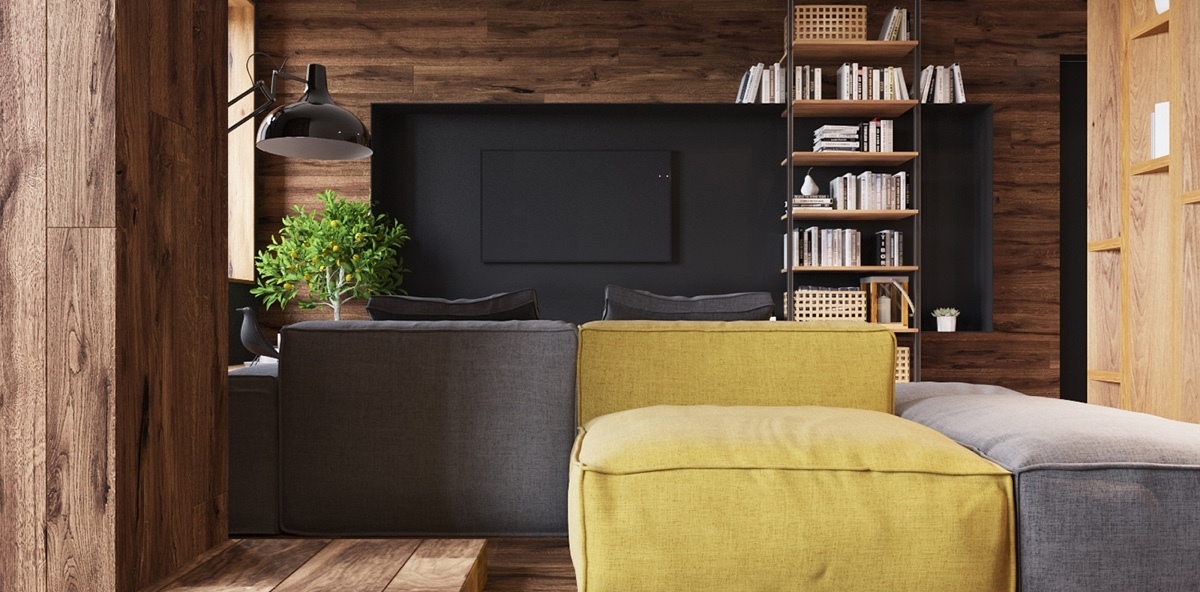 black-wall-tv-mounted-industrial-book-shelf